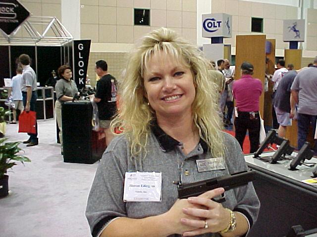 Sharon with Glock's new Model 35 .40 caliber pistol.